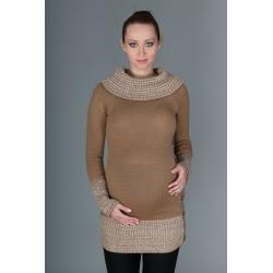 Těhotenský svetřík/tunika Carmen - karamelově hnědá s melirkem - UNI
