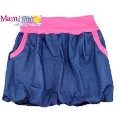 Balónová sukně NELLY - jeans denim granát/ růžové