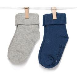 BOBO BABY Kojenecké ponožky 2 páry - šedá, modrá, vel. 11-13 cm - 12/18měsíců